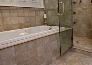 stand alone shower, bathroom remodeling, new ceramic tile, stone floor, flooring material, volatile organic compounds, Arena Tile and Stone, Acushnet, Massachusetts